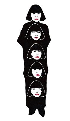 Rei Kawakubo wearing Comme des Garcons and Rei Kawakubo heads. #reikawakubo #kawakubo #commedesgarcons #black #art #illustration #fashion #yohjiyamamoto #dark #inspiration #graphic #HubertKolodziejski #ReiKawakubo #poland #doverstreetmarket #japan #fashionillustration #shade #creepy #artwork