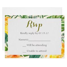 Tropical Pineapple Watercolor Wedding RSVP Card