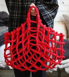 Knot Rope Basket-  inspiration picture, not a tutorial unfortunately. Would make a great storage bag for onions.