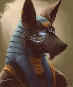 Anubis. An image created based on a study of a master painting. How exciting! Trying to apply knowledge.