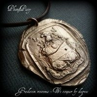 One Step at a Time Latin Wax Seal Necklace in Bronze - We Conquer by Degrees Antique Wax, Wax Seals, Pocket Watch, Bronze, Antiques, Accessories, Jewelry, Products, Antiquities