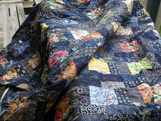Japanese Quilt | Flickr - Photo Sharing!, easy pattern to figure out to use for the asian stash--love the indigo mixed with the color prints