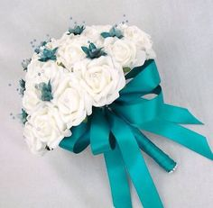 Artificial wedding flowers - brides posy bouquet in ivory roses with teal ribbon Teal Bouquet, Flower Bouquet Wedding, Turquoise Wedding Flowers, Wedding Colors, Teal Flowers, Teal Bridesmaid Dresses, Wedding Bridesmaids, Boquette Wedding, Dream Wedding