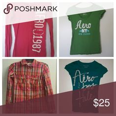 Aeropostale Shirt Bundle Includes Pink Long Sleeved Aeropostale Tee, Green short Sleeved Aeropostale Tee, Teal Short Sleeved Aeropostale Tee, and Plaid Pink and Brown button up Aeropostale Flannel for a discounted price. Aeropostale Tops