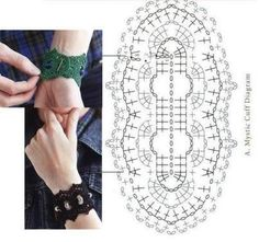 I made some research on internet and I found some interesting things to make these days. Let's start with some jewelry for ourselves: A crochet necklace, only the diagram, I couldn't find a decent ... Diy Broderie, Dentelle Au Crochet, Crochet Collar, Crochet Gloves, Crochet Stitches, Bracelet Crochet, Bead Crochet, Crochet Motif, Love Crochet