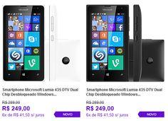 """Smartphone Microsoft Lumia 435 DTV Dual Chip Tela 4"""" 8GB 3G Wi-Fi Câmera 2MP << R$ 23650 em 6 vezes >>"""