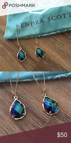 Kendra Scott Dee Drop Earrings Black Blue Iridescent