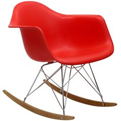 Mid Century Modern Plastic Molded Rocking Chair Red