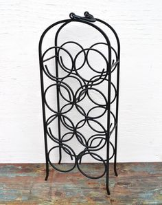 Wine Rack Vintage Wrought Iron Eight Bottle Capacity by Casanova's Cabinet...