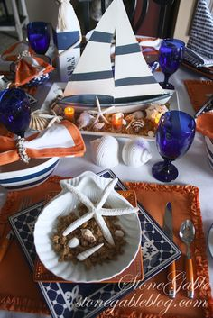 <3 <3 <3 Beautiful Orange and Blue Tablescape from the blog StoneGable: SUMMER'S LAST HURRAH TABLESCAPE