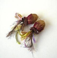 Silk Cocoon Earrings/ Eco friendly Earrings, Silk, / Brown Silk Cocoon earrings