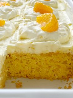 Pig Pickin' Cake Recipe   Cake Mix   Boxed Cake Mix   Easy Dessert Recipe   Orange Pineapple Cake is an easy cake recipe that starts with a boxed cake mix and canned mandarin oranges. Topped with a delicious and fluffy whipped pineapple vanilla pudding frosting. So moist, light, and refreshing. Pineapple Cake Mix Recipe, Orange Pineapple Cake, Pinapple Cake, Pineapple Recipes, Orange Recipes, Orange Cakes, Pig Pickin Cake Recipe, Cake Receipe, Sheet Cake Recipes