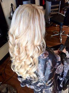 Platinum blonde with carmel blonde lowlights