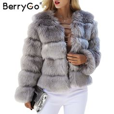 $63.41 - Nice BerryGo Fluffy faux fur coat women Short furry fake fur winter outerwear pink coat 2017 autumn casual party overcoat female - Buy it Now!
