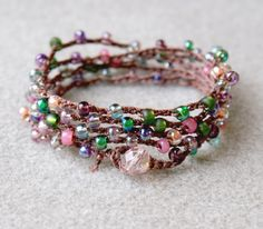 Japanese seed beads crocheted bracelet. just use picture for inspiration. 34 inches, about 100 beads