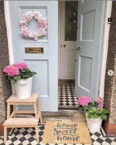 Home Sweet Home Grey Doormat - Handsprayed in UK - Artsy Doormats Cottage Exterior, Porch Interior, Exterior Tiles, Porch Decorating, Pink Door, Pink Houses, Front Door, Grey Front Doors, Door Mat