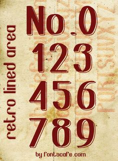 """""""Retro Lined Area"""" numbers font #Fonts #Vintage"""