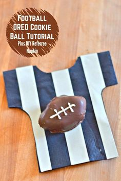 Football OREO Cookie Balls Tutorial for the perfect make ahead dessert for game day, whether it's the Big Game or a Saturday college tailgate. This is a simple and fun recipe to decorate, and when you serve it on these adorable referee napkins, it just adds to the #OREOCookieBalls fun.Video tutorial on the shaping and decorating of the footballs included! (ad)