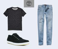 Look casual pra fazer bonito. Camiseta corte à fio, calça jeans slim moderna e nosso EK Urban.