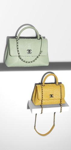 Flap bag with handle, python & lambskin-yellow - CHANEL