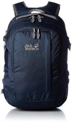 Jack Wolfskin Jack.Pot De Luxe Rucksack, Night Blue, 32 L. Roomy day pack with removable laptop bag and accessories pouch. laptop pack suitable for office use. well ventilated, padded suspension system with wide straps. 2 main compartments, 5 pockets and extra compartments. removable laptop pouch, removable accessories bag , rain cover.