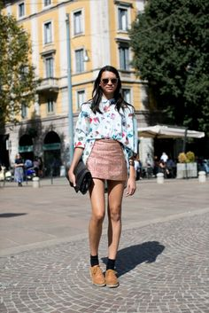 All the Best Street Style Straight From Milan Fashion Week!: When in doubt, throw on an army green parka. : All that glitters on a miniskirt.