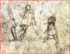 A 2nd-4th c. CE graffito from the Agora at Izmir showing two Gladiators and a young boy urinating on the street. Photo via the DHA.
