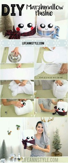 Christmas Gift Idea : DIY Cute Marshmallow Plushie for the Holidays! Christmas Gift Idea : DIY Cute Marshmallow Plushie for the Holidays! Cute Diys, Cute Crafts, Diy And Crafts, Felt Crafts, Creation Deco, Creation Couture, Homemade Christmas Gifts, Christmas Crafts, Diy Christmas Room Decor