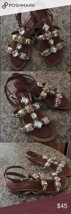 Spotted while shopping on Poshmark: Gianni Bini Tan Leather Stone Beaded…
