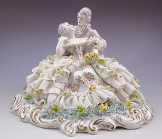 There are so many perfect details here, that you really have to look well or you can miss it. This must be the very top of the line Dresden Lace Capodimonte. I believe it is circa 1910-1950 - maybe older?. | eBay!