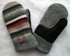 Multi Striped Gray Burgundy and Black Soft and Warm Felted Wool Mittens. $24.00, via Etsy.