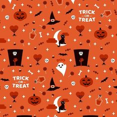 Trick or treat? 🧛‍♀️ Halloween Time is coming! 👉 Pattern avaible on prints and product in my redbubble and society6 shops #hallowen #pattern #patterndesign #illustration #vectorillustration #surfacepatterndesign #trickortreat