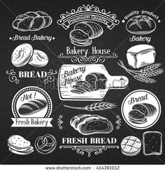 Vintage Label Decorative Bread, Calligraphic Design Elements. Hand drawn bread for brochures, banner, restaurant menu and market .Vector Illustration in chalkboard style.