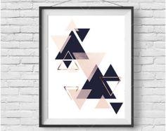 Scandinavian Design Printable Art Navy Print Blush by PrintAvenue