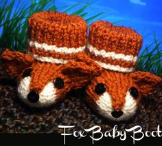 Fox baby booties knitting pattern