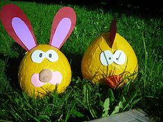 Par ici les oeufs de Pâques, papier mâché, bricolage assuré - Le blog de luna-et-tibou.over-blog.com