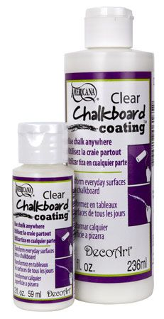 "DecoArt - Clear Chalkboard Coating makes any painted surface chalkboard! ~ Did not know they made this! Much easier way to achieve ""Chalkboard""!"