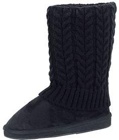Hazel's Women's Faux Suede Boot with Rib-knit Sweater (Bespoken/Crochet) Exterior and Faux Fur Lining, http://www.amazon.com/dp/B00ONYBE90/ref=cm_sw_r_pi_awdm_IinHub0WSS1ER