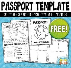 {FREE} Passport Booklet Template Set Includes 3 Page Templates!You will receive 3 different page templates that were hand drawn by myself. This Passport Booklet would work with great with my Passport Stamp Sets. The graphics are high resolution (300 DPI) which means you to enlarge them without causing pixelation.