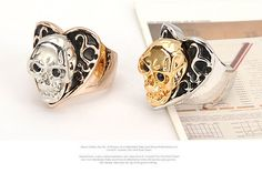 Korean persoanlity vintage fashion heart shape skull head charm design rings ,Fashion Rings   Spell,alchemy,Belong to you,creditable  wholesale fashion jewelry