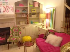 pink sofa and pillows (leopard, gold sparkles and white fur)