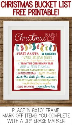 Christmas Bucket List Printable!