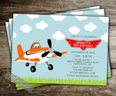 Planes Invitation Birthday Party Inspired Dusty by 2SweetTeas, $15.00