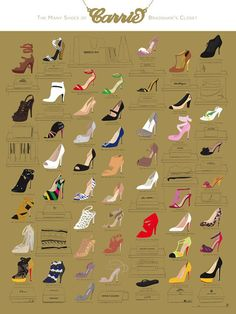 Carrie Bradshaw's Shoes - Illustrated Sex and the City Shoes