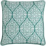 Embroidered Diamond Pillow - Teal