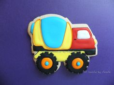 Concrete Mixer Truck - Construction Truck Cookie, see more pictures at : https://www.facebook.com/NYCookiesByVictoria