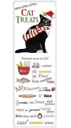 Holiday Cat Kitty Treats Recipe 100% Cotton Flour Sack Dish Towel Tea Towel