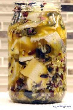 Śledzie w stylu śródziemnomorskim - My Blueberry Corner Calzone, Appetisers, Pickles, Cucumber, Blueberry, Seafood, Oatmeal, Salads, Snacks