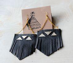 leather fringe earrings.