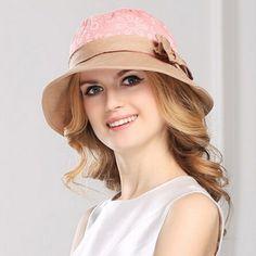 9fba4d89272 Lace flower bucket hat bow decoration for women